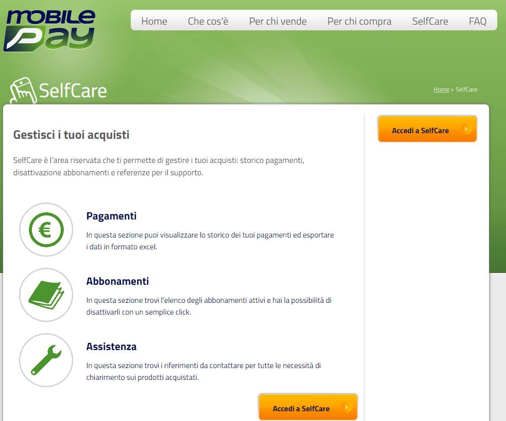 disattivare mobilepay self care