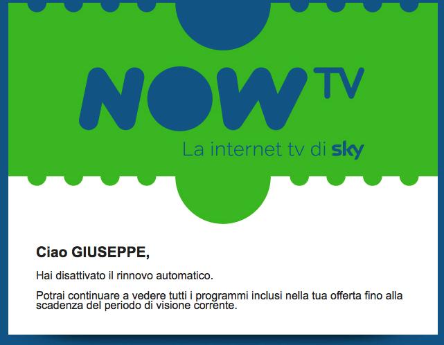 Now TV disattivazione